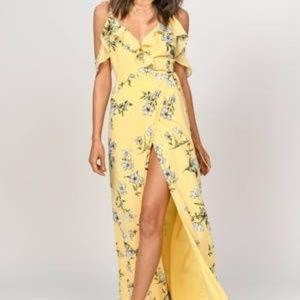 Enchant Me Yellow Floral Wrap Maxi Dress